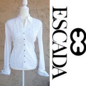 Escada - White Polished Cotton Pleat Front Blouse